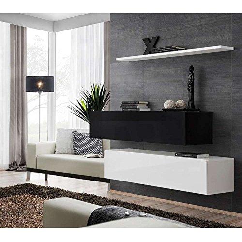 JUSThome SWITCH SB II Wohnzimmerset Wohnzimmermöbel Wohnwand (HxBxT): 110x130x30 cm Schwarz Weiß Matt / Schwarz Weiß Hochglanz