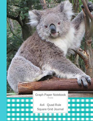 Graph Paper Notebook Koala: Large Quad Rule 4x4 Square Grid Journal (Graph Paper 4x4 Book, Band 9) -