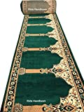 #10: Rida Handloom washable Janamaz Carpet Rolls for Mosque(Masjid) and Hall size 4x22 feet Runner 0.5 inch thickness masjid janamaz Color Green 4