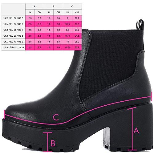 SPYLOVEBUY BGSPY Femmes Plateforme à Talon Bloc Bottines Chaussures Noir - Similicuir