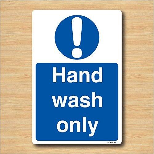 Hand Wash Only - Kitchen Health & Safety Sticker - Restaurant Sign 14cm x 9.5cm Test
