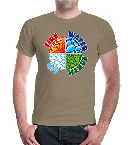 buXsbaum® T-Shirt Fire Water Earth Air Khaki-z-direct
