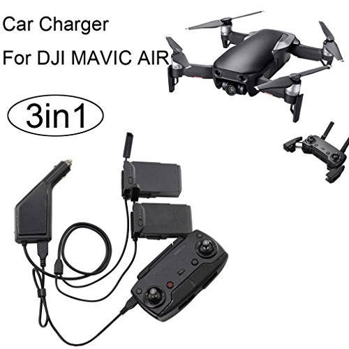 MMLC 3in1 Car Charger Adapter For DJI Mavic Air Remote Control & Battery Charging Hub (a) (Remote Kit Airplane Control)