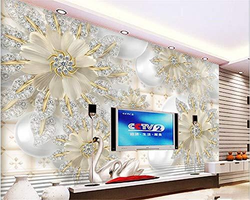 MuralXW Mode schöne Tapete Wandbild Tapete dimensionale High-Definition-Gericht Schmuck Diamant Blume Hintergrund Wand-280x200cm