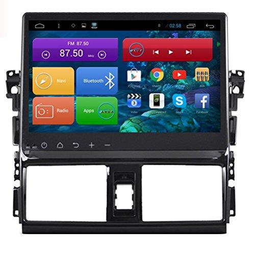 Topnavi [25,7cm dernière Android 6.0EN Dash Navigation GPS de voiture] pour Toyota Vios 2014201520162017de voiture PC navigateur Tête unité double DIN Autoradio SAT Navi HD DVD CD audio player avec Durée de vie carte de l'écran tactile Full OBD2Cam-in
