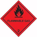 Schilder und Etiketten amzcasslas402Easy Peel entzündliches Gas 5,1cm Hazard ACHTUNG Diamant, selbstklebendes Vinyl, 100mm H, 100mm W
