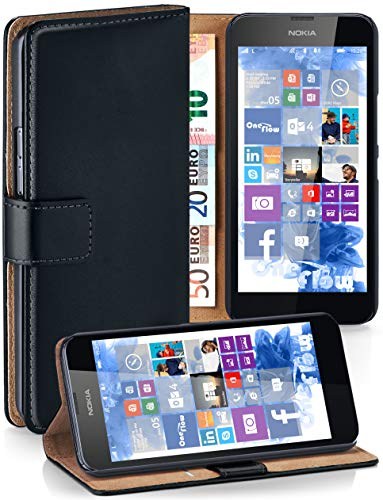 MoEx® Booklet mit Flip Funktion [360 Grad Voll-Schutz] für Nokia Lumia 630 | Geldfach und Kartenfach + Stand-Funktion und Magnet-Verschluss, Schwarz