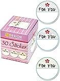 Avery Zweckform 56816 Sticker auf Rolle, For You (38 mm, im Spender) 50 Aufkleber