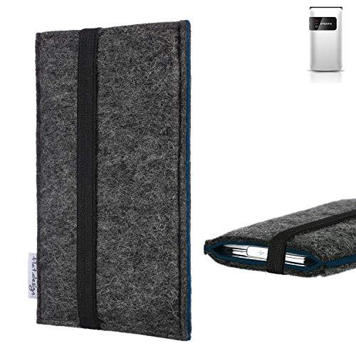 flat.design Handyhülle Lagoa für Emporia Flip Basic | Farbe: anthrazit/blau | Smartphone-Tasche aus Filz | Handy Schutzhülle| Handytasche Made in Germany