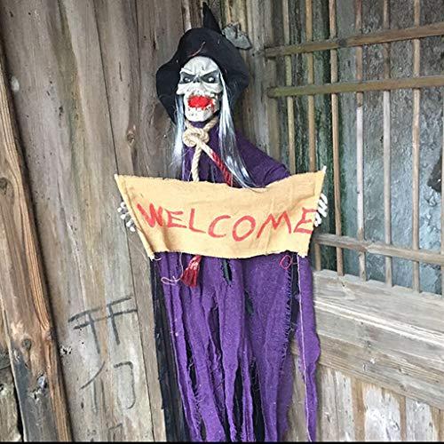 JIBO Control De Voz Eléctrico De Sonido Halloween Colgando Apoyos De Terror Fantasma Cabeza Fantasma Diablo Accesorios Ordenadas,Purple