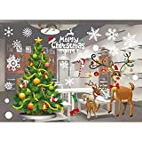 Mallalah Autocollant Mural Noël Amovible Stickers Père Noël Sapin Neige Fenêtre Vitrine Joyeux Noël Santa Claus Décoration de Salle Chambre Salon Bar Restaurant (A)
