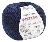 Biowolle Lane Mondial Bio Lana Fine Fb. 417 Marine blau, 50g Reine Schurwolle zum Stricken, Babywolle Bio
