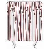HUIYIYANG Kundenspezifischer Duschvorhang, Abstrakter Rosa Baum-Stamm-Kunst-Muster-Entwurf Wasserdichter Anti-Mehltau-Gewebe-Polyester-Badezimmer-Duschvorhang60 x 72