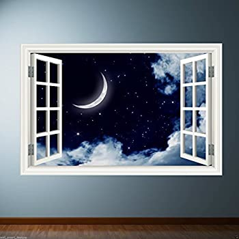 Colour NIGHT SKY MOON DREAM wall sticker decal transfer Graphic Print WSD396