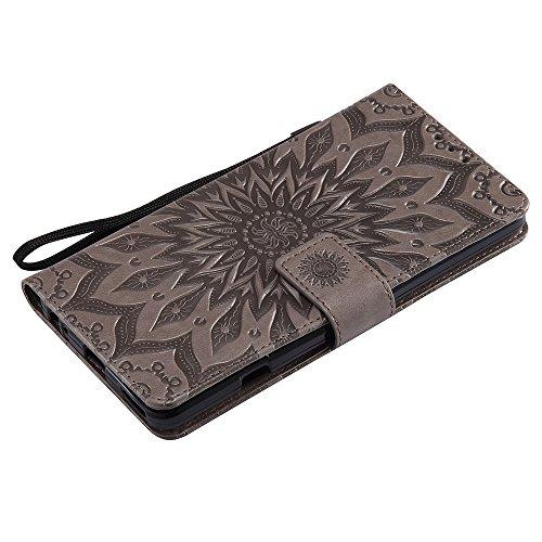 Für LG V20 Fall, Prägen Sonnenblume Magnetic Pattern Premium Soft PU Leder Brieftasche Stand Case Cover mit Lanyard & Halter & Card Slots ( Color : Purple ) Gray