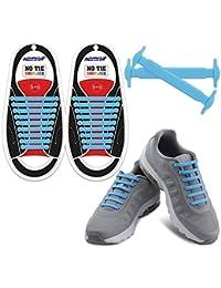 HOMAR No Tie Schnürsenkel für Kinder und Erwachsene - Wasserdichte Flache Elastische Silikonschnürsenkel aus Silikon mit Multicolor für Sneaker Boots, Board-Schuhe und Freizeitschuhe - Sky Blue