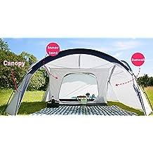 Tendone Parasole con Tenda Interna per 4 persone - 410 x 410 cm - e parete laterale per feste in giardino, picnic e campeggio (Parasole) - Guida Tascabile Sopravvivenza