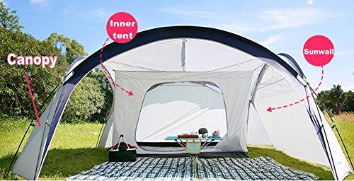 Camping Plane Sonnensegel Tarp Wasserdicht Zelt mit Innenzelt 4 Personen & Seitenschutzwand - 410 x 410 cm - für Camping Picknick (Baldachin + Innenzelt + Sonnenschutzwand) Kuppel-baldachin Schutz