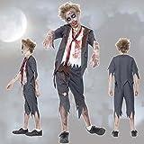 Costume enfant zombie Déguisement mort vivant écolier L 146/152 cm (9 - 12 ans) Uniforme d'école effrayant infantile tenue d'Halloween garçon habits d'horreur étudiant vêtements défilé enfants terrifiant