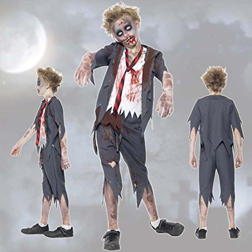 Imagen de traje niño zombie estudiante muerto viviente l 146/152 cm años 9  12 outfit de miedo colegial ropa halloween infantil atuendo de terror estudiante disfraz chico para carnaval