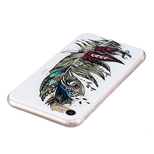Coque iPhone 7 Plus, Etui iPhone 7 Plus, ISAKEN Peinture Style TPU Coque pour Apple iPhone 7 Plus, Ultra Mince Souple TPU Silicone Lumineux Fluorescents Dans Le Noir Etui Housse de Protection Coque Ét Plume