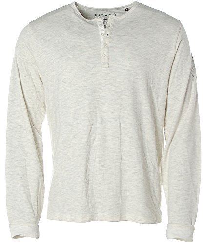 Kitaro Herren Langarm Shirt Rundhals -Dividing Manhattan´s 5th Avenue- Ecru mel
