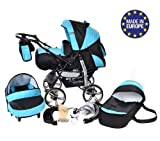 Kamil, Classic 3-in-1 Travel System with 4 STATIC (FIXED) WHEELS incl. Baby Pram, Car Seat, Pushchair & Accessories (3-in-1 Travel System, Black & Turquise)