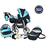 Baby Sportive - Sistema de viaje 3 en 1, silla de paseo, carrito con capazo y silla de coche, RUEDAS ESTÁTICAS y accesorios, color negro, azul