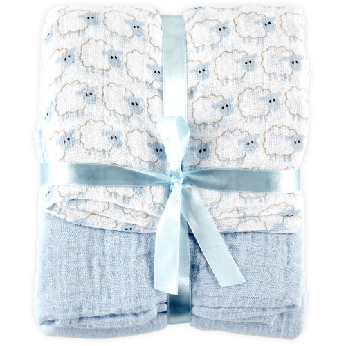 Hudson Baby 2 Count Muslin Swaddle Blanket, Blue by Hudson Baby