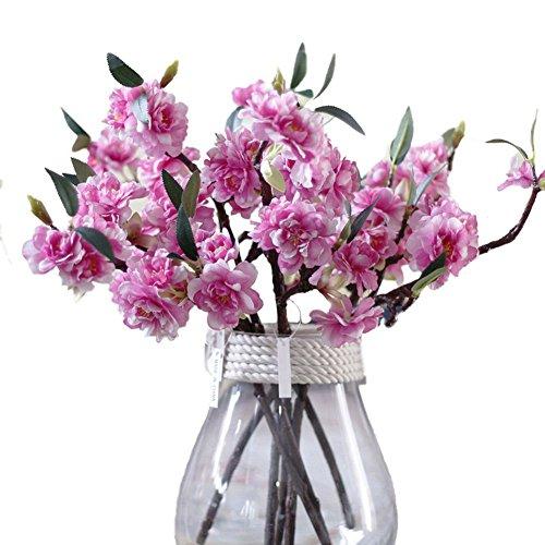 jarown Mini Vivid Künstliche Blumen Cherry Blossom Sakura Blütenblätter für Mutter 's Day 5Stück dunkelrosa (Hibiscus Flower Vase)