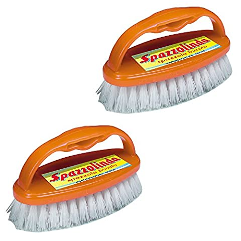 2 brosse buanderie, savon, brosse à chaussures, brosse couleurs assorties occasionnels brosse pour planchers: SPAZZOLINDA brosse de lavage avec poignée x2, brosse avec poils epais Art 343 Parodi