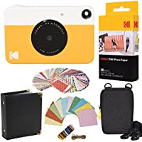 Kodak Printomatic Instant Camera (Yellow) Gift Bundle + ZINK Paper (20 Sheets) + Case + 100 Sticker Border Frames + Hanging Frames + Album