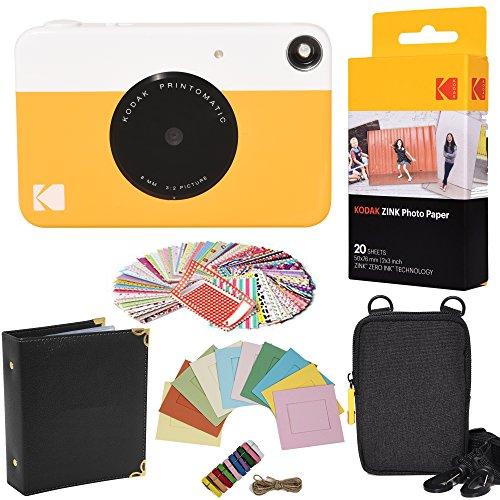 Kodak - pacchetto regalo con fotocamera istantanea printomatic (giallo) + carta zink (20 fogli) + custodia + 100 cornici adesive + cornici da appendere + album