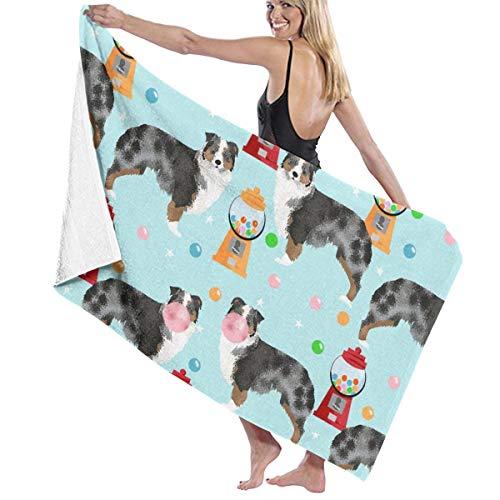 Kaixin J Australian Shepherd Bubble Gum Cute Dogs and Candy Design Microfiber Pool Beach Towel Quick Dry Beach Towel for Adult 32 X 52 Inch