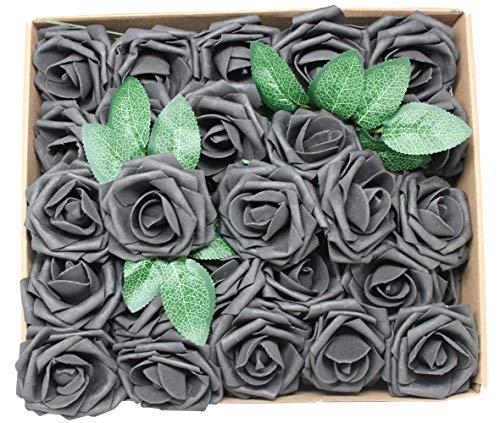 En Ge Künstliche Blumen, weiße Rosen, echt aussehend, künstliche Rosen, Blumen mit Stiel für DIY Hochzeit Blumensträuße Tafelaufsätze Arrangements Party Home Yard Halloween Dekoration schwarz