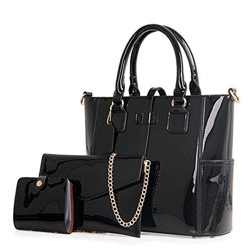Damen Handtaschen Schultertaschen Umhängetaschen PU-Leder Bowlingtaschen 3er Set Schwarz