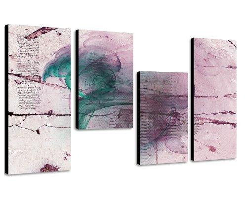 Augenblicke Wandbilder Schlicht und elegant 130x70cm 4 teiliges Keilrahmenbild brombeer (30×70+30×50+30×50+30x70cm) abstraktes Wandbild mehrteilig Gemälde-Stil handgemalte Optik Vintage
