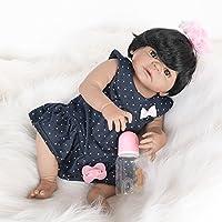 TUJHGF Reborn Baby Doll Simulation Soft Newborn Baby Silicone Toy Gift Brown Eyes 55cm,A