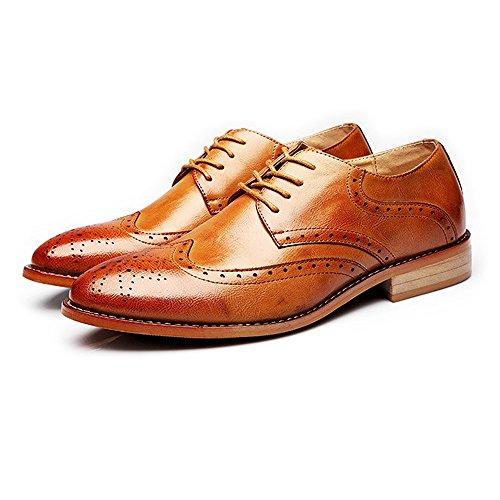 HYF Scarpe da Uomo d'Affari Brogue in Stile Smoking Scarpe in Velluto Oxford con Fodera in Pelle Opaca Wingtip Scarpe Eleganti (Color : Marrone, Dimensione : 37 EU)