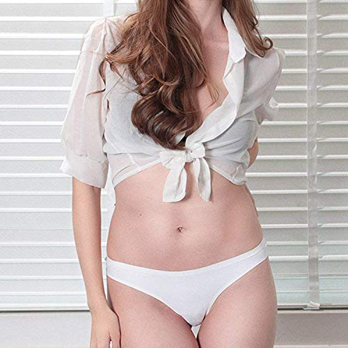 KELITCH Damen Sexy Tanga Panty Seamless Stretch Slip niedrige Taille Baumwolle Bikini Unterwäsche G-String Panty Hipster - Weiß - X-Groß - 2