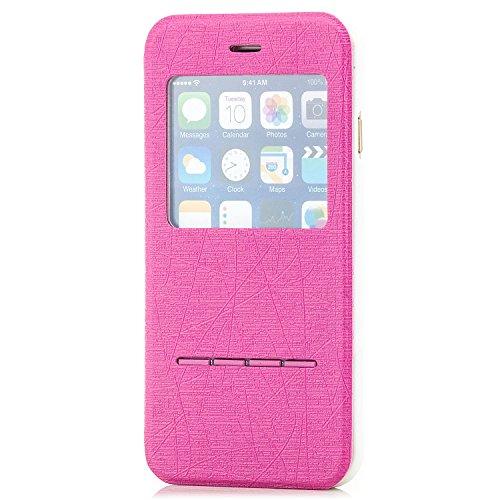 Saxonia Flip Tasche für Apple iPhone 6 6S Schutzhülle Case mit Smart-Slide Funktion zur Anrufannahme Schwarz Pink