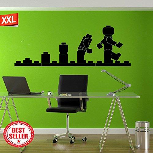 "Lego Decal, Lego Wall Decal, Lego Decor, Lego Decals, Lego Wall Art, Lego Wall Art, Lego Wall Sticker, Lego Wall Decor tr170 14\"" x 40\"" Beige/Schwarz"