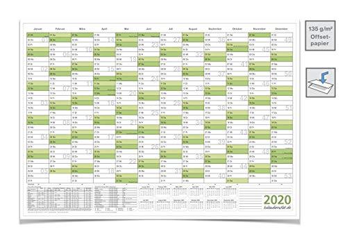 WANDKALENDER/JAHRESPLANER 2020 MIT FERIEN A0 groß, 118,8 X 84,0 CM 135 G grün gefaltet
