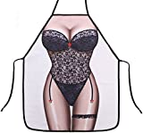 HENSE Funny Novelty Sexy Women Kitchen BBQ Apron Chef Waitress Cooking Apron Unisex Adult Apron Fancy Dress Fun (HSW-015-07)