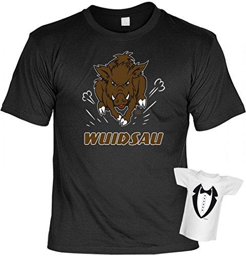 T-Shirt für Bayern mit Humor - Wuidsau - Bayerisches Funshirt mit Wildschwein - Set inkl. Minishirt als Geschenk Idee, Größe:L (T-shirt-t-shirt Humor)