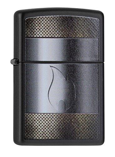 Zippo 60000212 Feuerzeug Metal and Flame (Schwarz Zippo Matt)