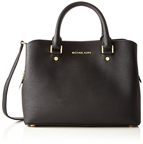 Michael KorsSavannah Medium Saffiano Leather Satchel - Borsa a tracolla donna , Savannah Medium Saffiano Leather Satchel, nero