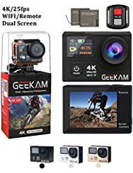 Action Camera 4K 25Fps HD Sport Action Camera Cam with Remote Dual Screen Wifi 170° Wide Angle Two 1050 mAh Batteries 19 Mounting Kits Waterproof Case for Bicycle Motorcycle Ski Diving Snorkeling