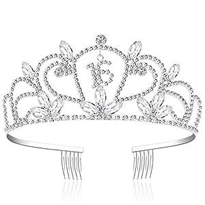 ArtiDeco Kristall Geburtstag Tiara Birthday Crown Prinzessin Kronen Geburtstag Haar-Zusätze Silber Diamante Glücklicher 16/21/30/40/50/60/70/80/90 Geburtstag