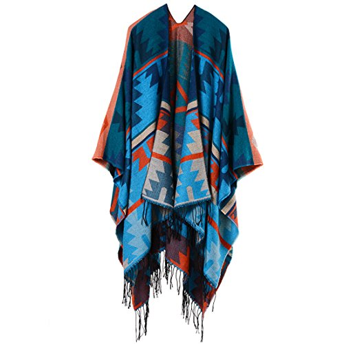 Bestja Mujeres Poncho Cardigan Punto Bloques Colores